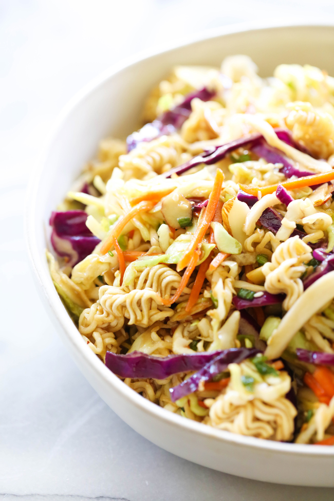 Ramen Noodle Salad in a white bowl.