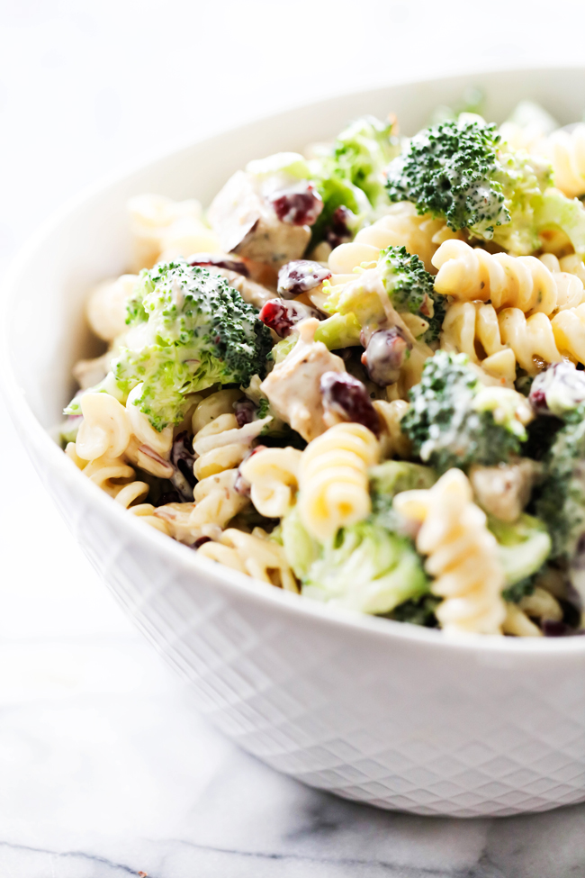 Broccoli Pasta Salad in a white serving bowl.