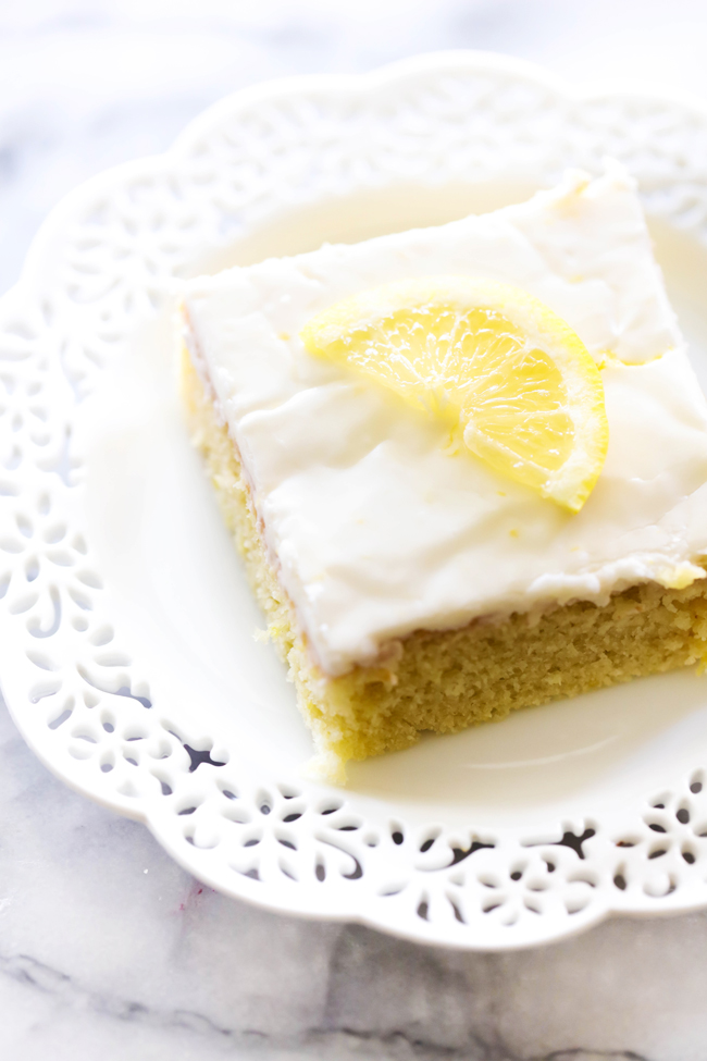 This Lemon Sheet Cake is refreshing and mouthwatering delicious. A light lemon glaze grazes the top of the moist cake making each and every bite bursting with flavor.