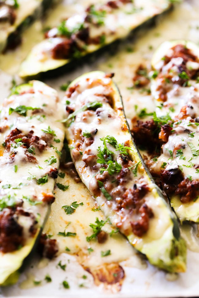These Italian Zucchini Boats are the perfect combination of flavors and textures. It is perfectly cooked juicy zucchini stuffed with Italian sausage, cheese and a perfect blend of herbs and spices.